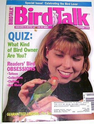 **BIRD TALK MAGAZINE Feb 98 Parrot Rescue Free Flight Aviary Refuge Tattoo