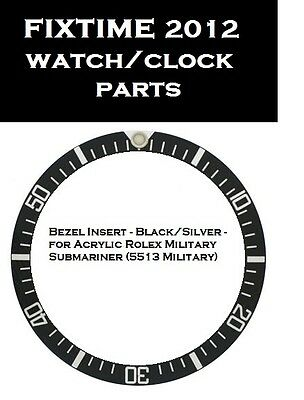 Bezel Insert Black / Silver for Rolex Military Submariner 5513 Military.Free Shi