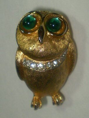 Owl Pin Brooch with Rhinestones and Green Cabochon Eyes in Textured Gold Tone on Rummage