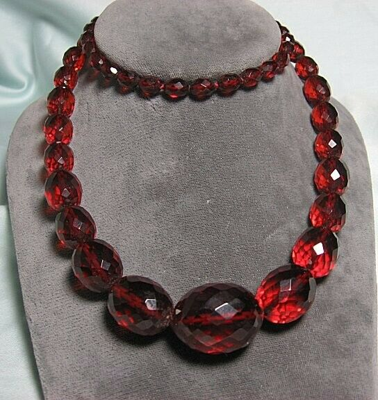 """Madeira Amber Bakelite Faceted Bead Necklace 30"""""""