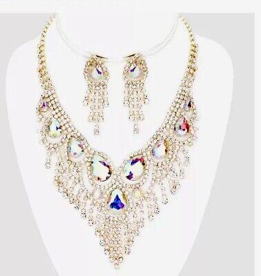 - AB Gold Aurora Borealis Crystal Clear Rhinestone Necklace Jewelry Set Earring