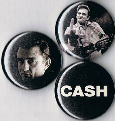 Johnny Cash 3 pins buttons badges middle finger outlaw country