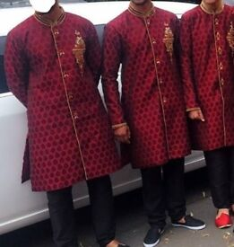 Men's maroon wedding sherwani