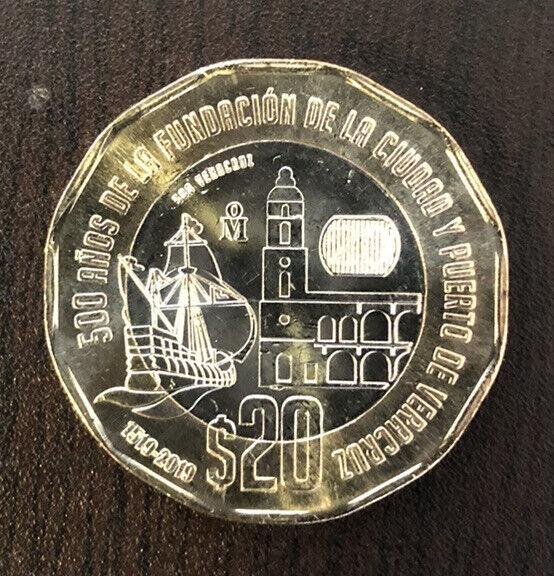 New 20 Pesos Coin 500 Years Anniversary Veracruz Straight From The Mint! Bu! Ms!