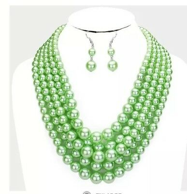 Chunky Light Green Bead Pearl Multi Layered Strand Necklace Set Jewelry - Green Bead Necklaces