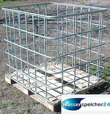Gitterbox 1m³ auf Holzpalette zur Lagerung von Brennholz, Kaminholz