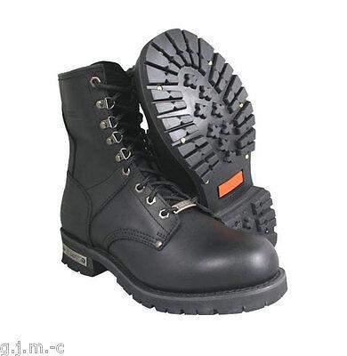 Xelement Mens 1446 Vigilant Classic Logger Zipper Heavy Leather Motorcycle Boots