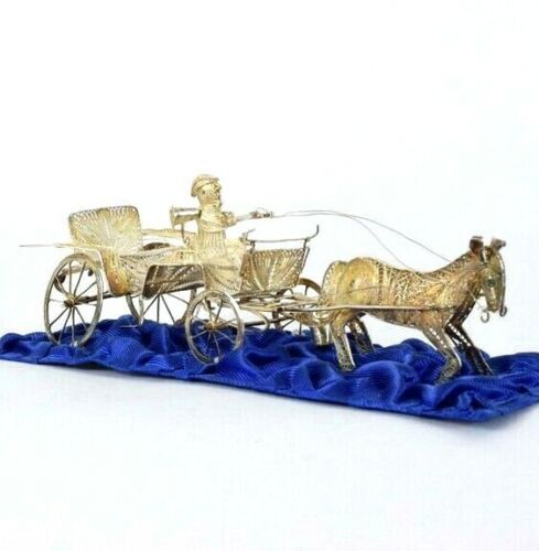 Antique Sterling Silver Figurine Chinese Horse Coach Carriage 80g Decorative Vtg