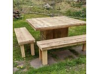 Handmade Chunky Rustic 4ft x 4ft Dining Table Clear Finish