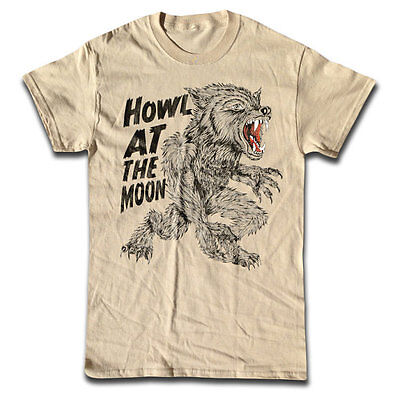 Howl At The Moon T Shirt - Retro Graphic Tees - Horror, Werewolf, - Halloween Graphic Tees