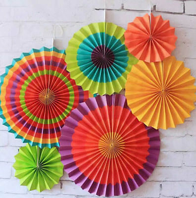 24pk Mexican Paper Fans Fiesta Cinco de Mayo Celebration Party Decorations
