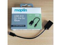 Maplin USB 2.0 OTG on the go micro USB to USB cable