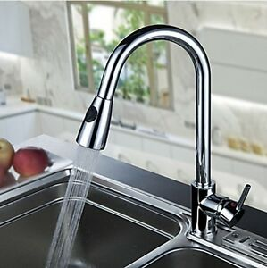 New-Faucet-Kitchen-Brass-Basin-Sink-Pull-Out-Spray-Chrome-Mixer-Tap-QX8096