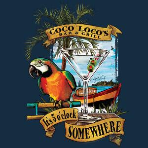 Mens Its 5 Oclock Somewhere T Shirt Coco Loco Bar Parrot