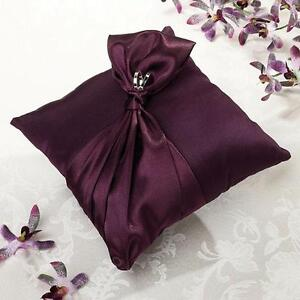 Plum Purple Satin Wedding Ring Pillow Ring Bearer Pillow