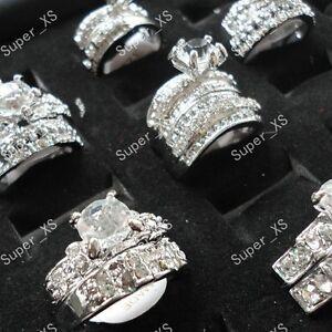 wholesale-jewelry-lots-5pcs-zircon-rhinestone-silver-Plated-rings-free-shipping