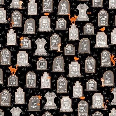 Boos and Ghouls Gravestones Funny Graves Halloween Cotton Fabric by the Yard (Funny Gravestones Halloween)