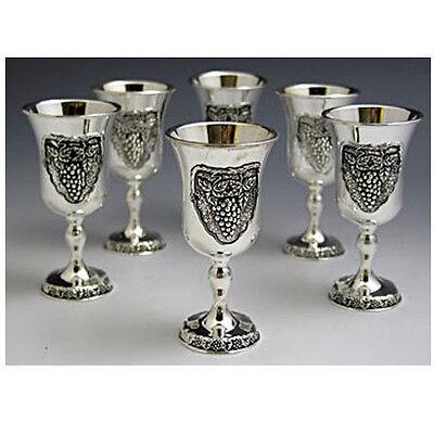 New Shabbat Liquor Cups Set of 6 With Tray, Grapes Design *