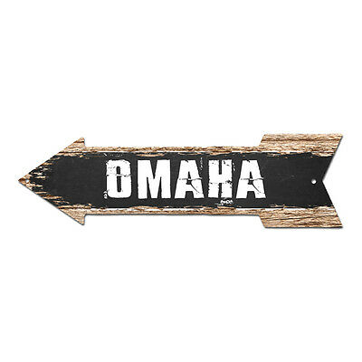 AP-0222 OMAHA Arrow Street Tin Chic Sign Name Sign Home man cave Decor