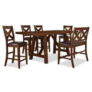 LIKE NEW!!! Adara 5 Piece Dining Set - 2 Benches & 2 Chairs