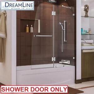 NEW DREAMLINE AQUA LUX SHOWER DOOR SHDR-3348588-01 137036119 SEMI FRAMED CHROME SHOWERS BATH BATHROOM TUB TUBS ENCLOS...