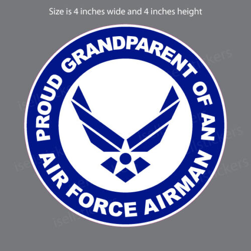 AF-1126 Proud Grandparent of Air Force Airman White Bumper Sticker Window Decal