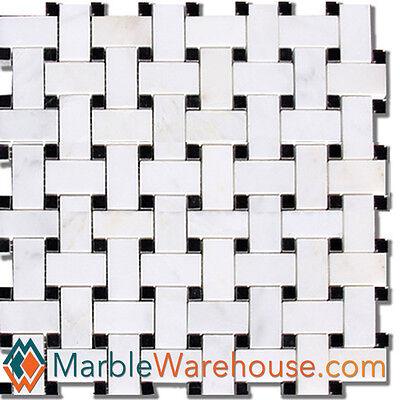 Mix Black & White Marble Tile Calacatta Chiara Basketweave Mosaic for Wall Floor
