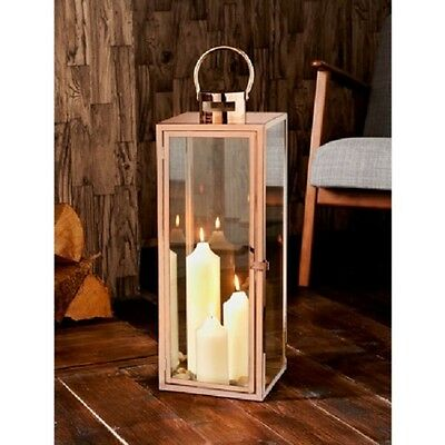 Large 70 cm Rose Gold Stainless Steel Copper Glass Lantern Outdoor Indoor Candle