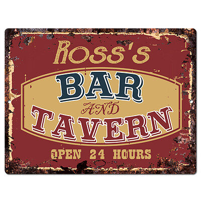 Ppbt0282 Rosss Bar And Tavern Rustic Tin Chic Sign Home Store Decor Gift