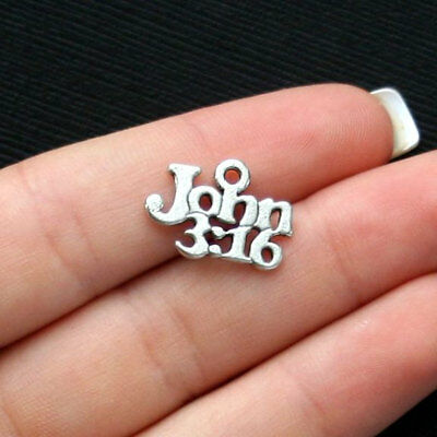 Bible Crafts (10 Bible Charms Antique Silver Tone John 3:16 Verse -)