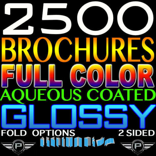 """2500 Custom Printed BROCHURE 8.5"""" X 11"""" FULL COLOR 2 SIDED 100LB GLOSSY Trifold"""
