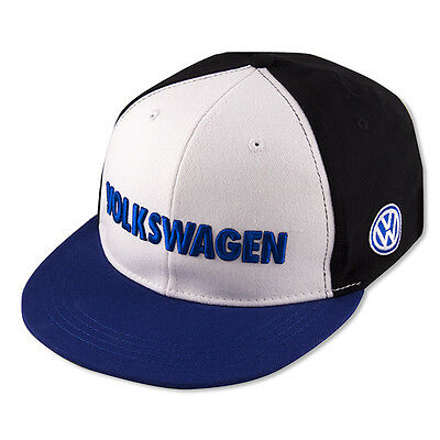 """Volkswagen Driver Gear Blue Black White Bill Cap Hat WITH Embroidered """"VW"""" Logo"""