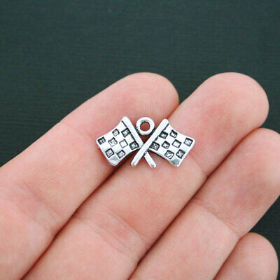 BULK 20 Checkered Flags Charms Antique Silver Tone Race Car Charm - SC4205 - Bulk Flags