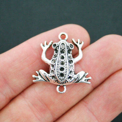 4 Frog Connector Charms Antique Silver Tone - SC5109
