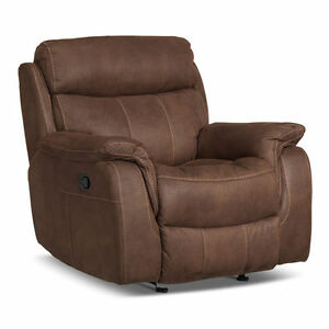 BRAND NEW Brown Microsuede Glider Recliner Chair