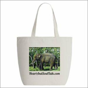 Elephant - Cotton tote bag with zipper