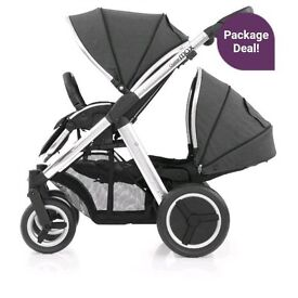Oyster Max 2 Travel System Tandem Tungsten Grey 6months Old with Oysyer Car Seat aswell