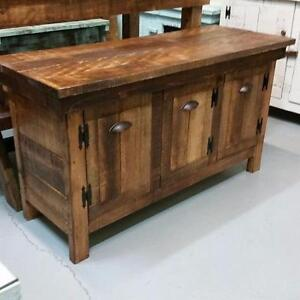 RUSTIC RE-CLAIMED BARN WOOD MULTI PURPOSE MEDIA/STORAGE CABINET