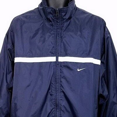 Nike Windbreaker Jacket Vintage 90s Full Zip Mock Neck Lined Blue Size XL Nike Mock Neck
