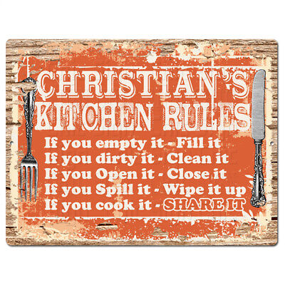PPKR0903 CHRISTIAN'S KITCHEN RULES Chic Sign Funny Kitchen Decor Birthday Gift