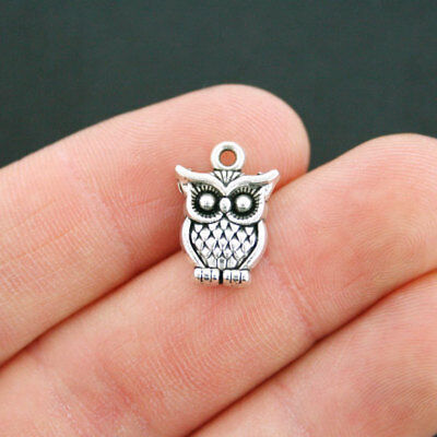 Cute Charms (10 Owl Charms Antique Silver Tone Cute 2 Sided -)