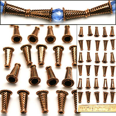 100% SOLID COPPER 16mm Bali Style Fancy Handmade Striped CONES Cap Beads 30pc - Striped Cones