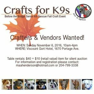 Crafts for K9's- Crafter's and Trades WANTED