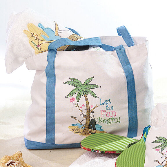 Lillian Rose WG647 FL Beach Bag - Flipflop Love