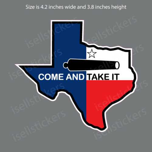 FL-15001 Texas State Flag Come and Take It Alamo Bumper Sticker Window Decal