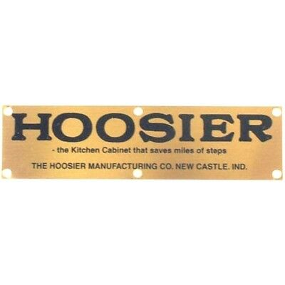 "HL-3 - HOOSIER SOLID BRASS LABEL ""HOOSIER SAVES STEPS"" 3-3/8"" W X 7/8"" H"
