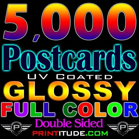"""5000 POSTCARDS 3"""" x 5"""" FULL COLOR GLOSSY, 2 SIDED 3X5 CUSTOM PRINTED FREE Design"""