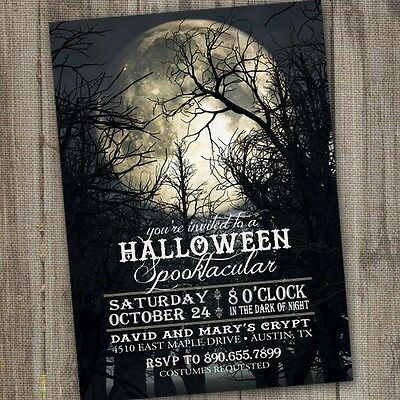 Full Moon Halloween Party Invitations- 10 Personalized, Printed with Envelopes](Full Moon Halloween)