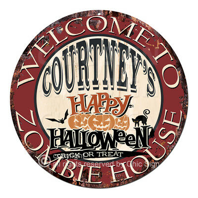 CWZH-0488 WELCOME TO COURTNEY'S ZOMBIE HOUSE Halloween Decor Funny Gift
