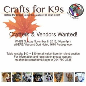 Crafts for K9's- Crafters and Trades WANTED